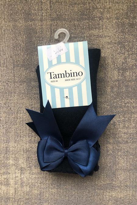 Tambino navy knee high bow socks