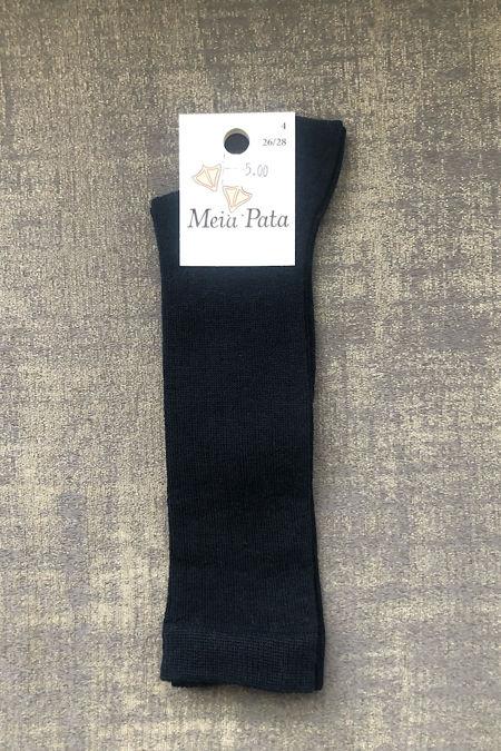 Meia pata navy ribbed knee high socks
