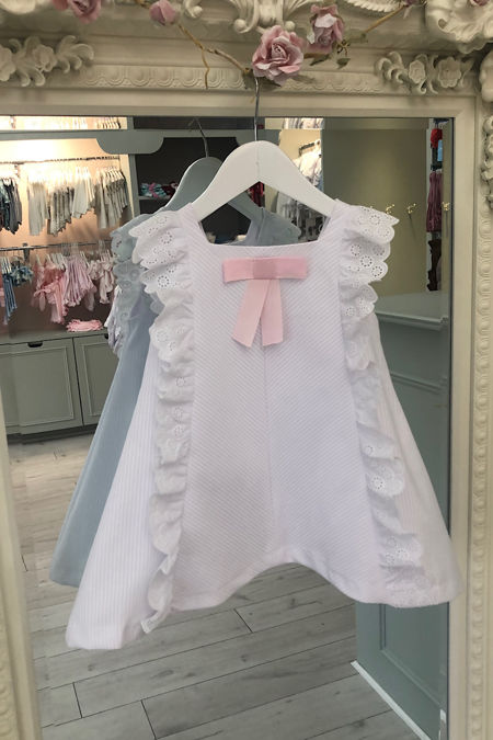 Rochy pique white dress with pink bow