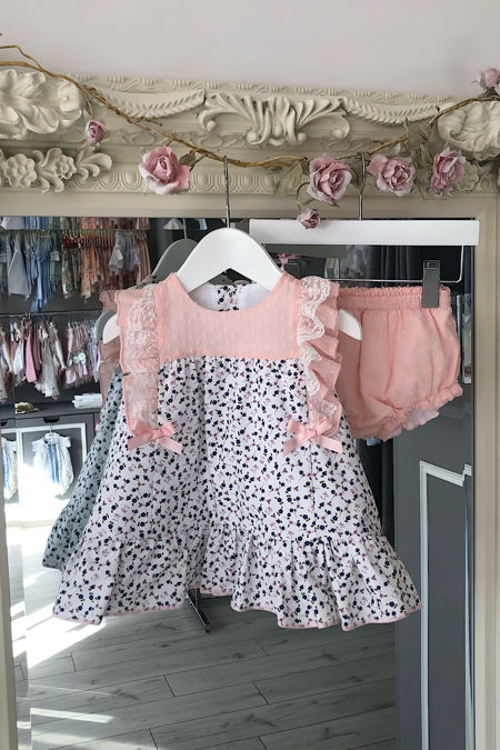 Peachy floral dress and jam pants set