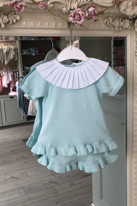 Aqua frill collar knitted set
