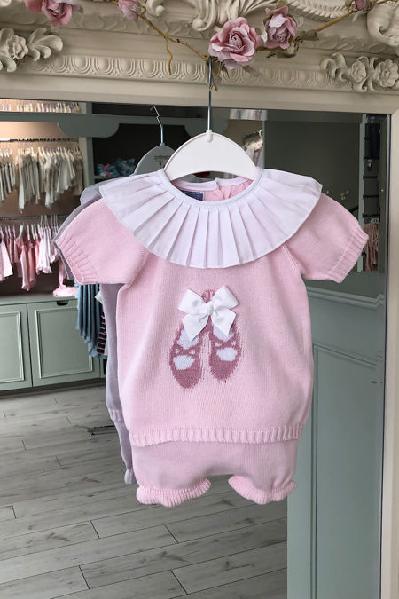 Baby pink ballerina frill collar knitted set