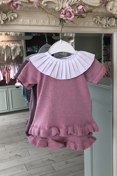 Dusky pink frill collar knitted set