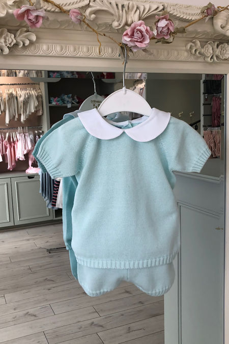 Aqua peter pan collar knitted set