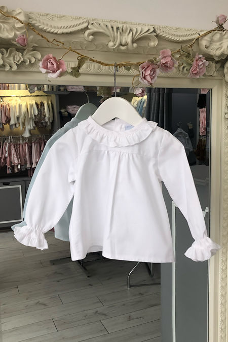 Amelia white frill cuff long sleeve blouse