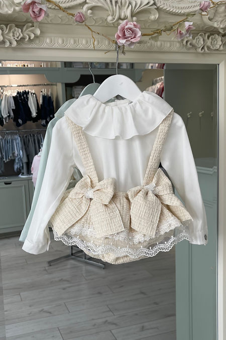 Naxos cream bow romper and blouse set