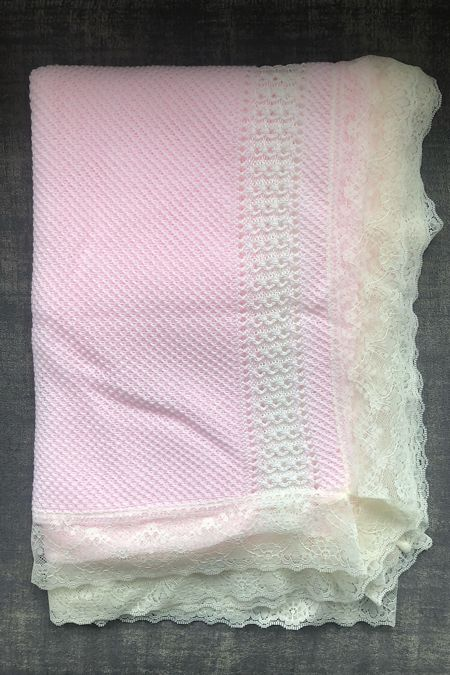 pink and cream lace blanket