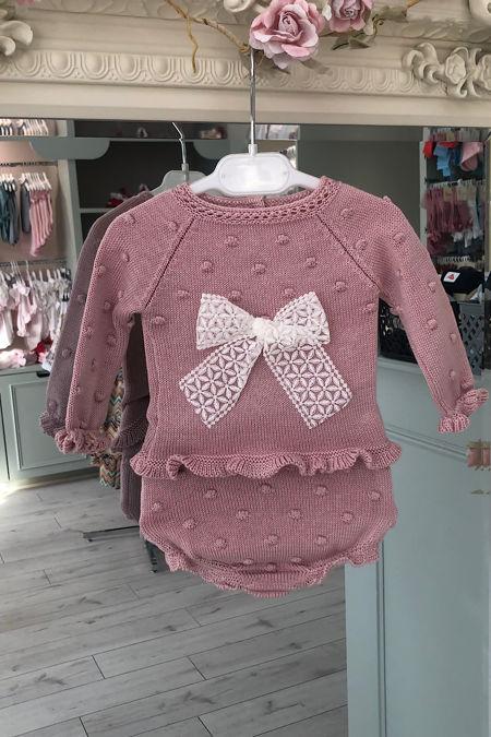 Juliana beau dusky pink knitted two piece set