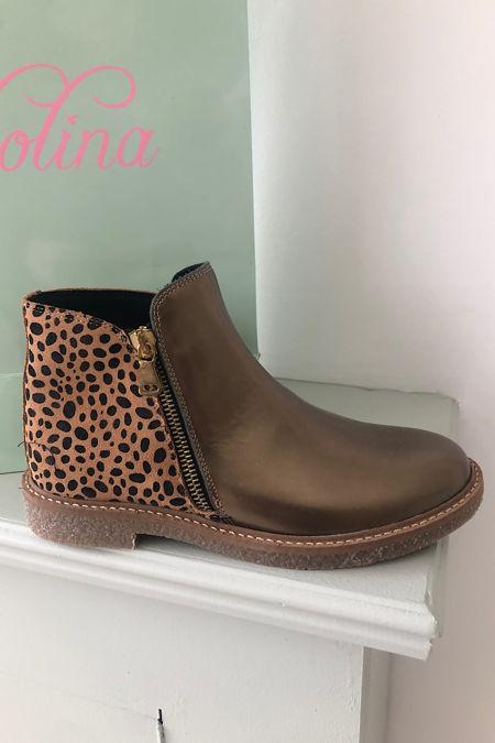 clarys lepoard print bronze leather boots