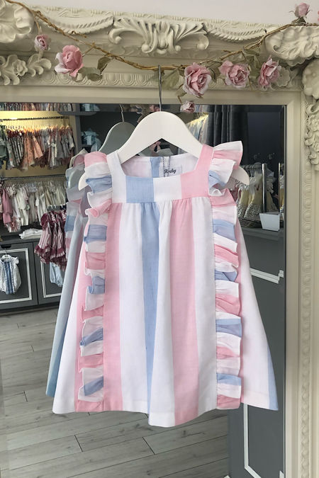 Rochy candy pink and blue stripped dress