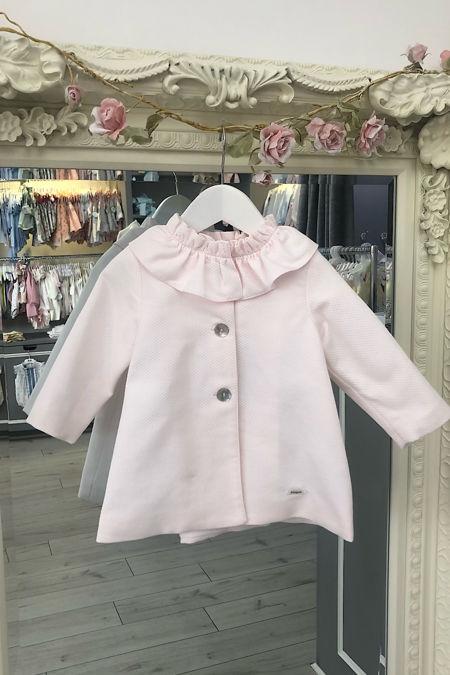 Foque girls baby pink frill collar coat