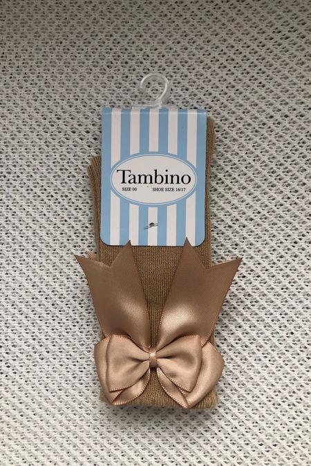 Tambino camel knee high bow socks
