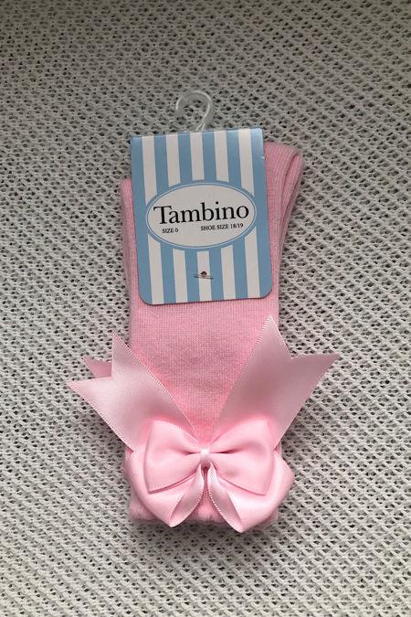 Tambino baby pink knee high bow socks