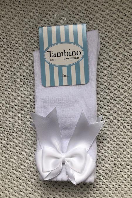 Tambino white knee high bow socks