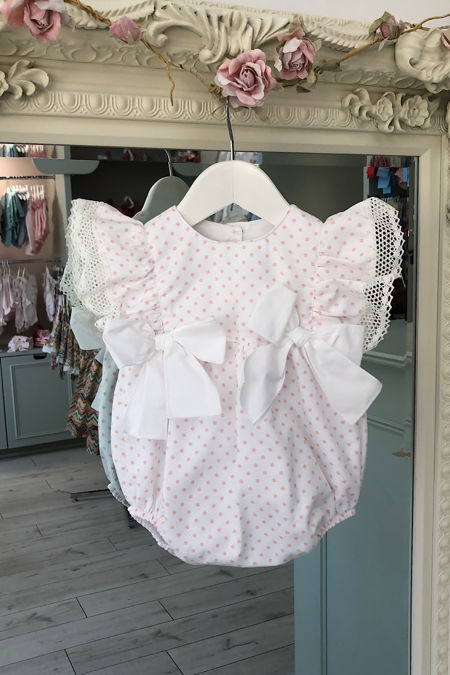 Phi white and pink polka dot romper