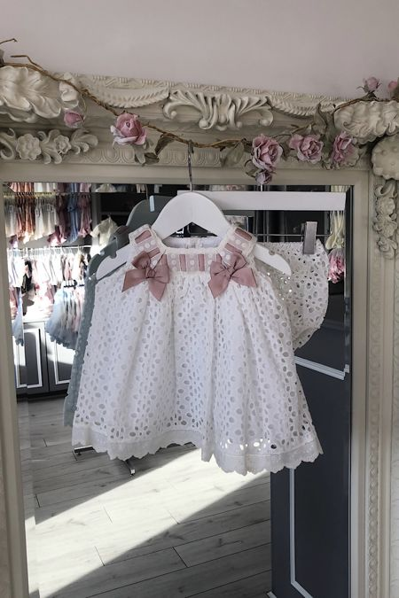Valentina Madrid cream and pink broderie anglaise two piece set