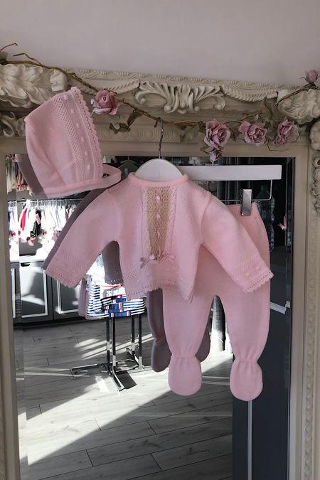 Valentina Lisbon pink three piece knitted set