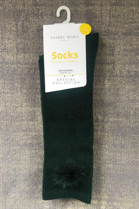 Bottle green pom pom socks