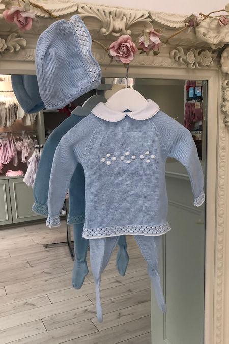 Juliana blue knitted three piece set