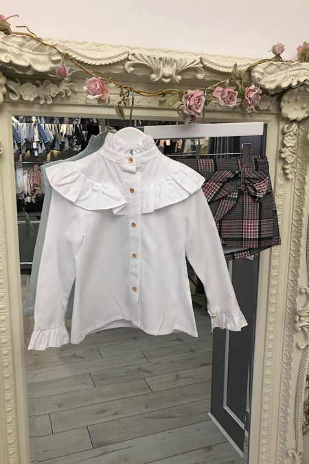 Emily white blouse and short set