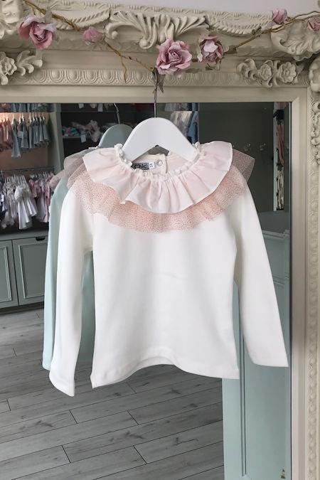 Olivia peach tulle bow t shirt