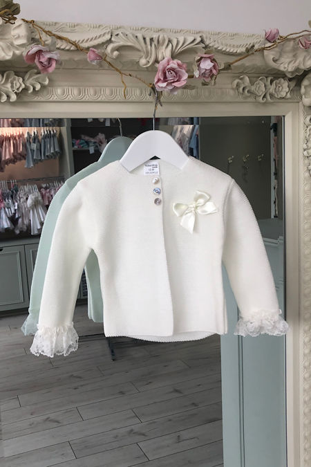 Valentina cream lace trim cardigan