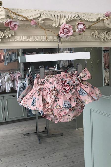 Valentina pink floral bow jam pants
