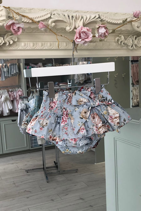 Valentina blue floral bow jam pants