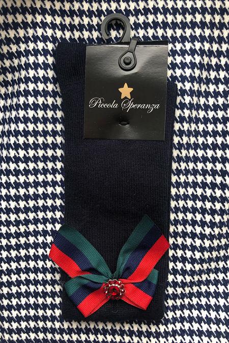 Piccola Speranza navy bow socks