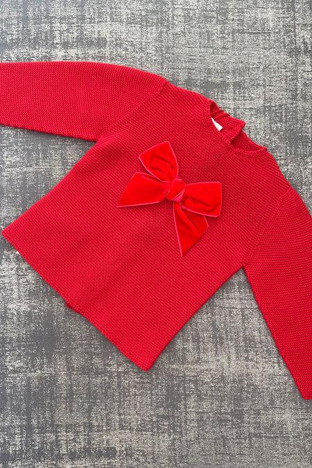 Condor red velvet bow jumper
