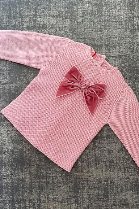 Condor dusky pink velvet bow jumper