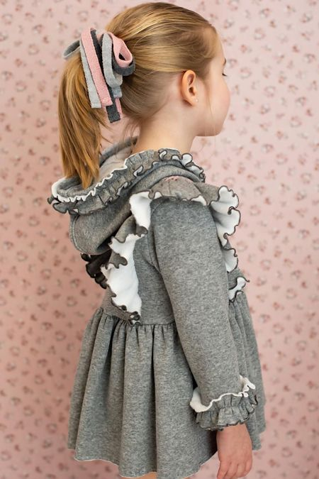 Foque grey hooded jersey dress
