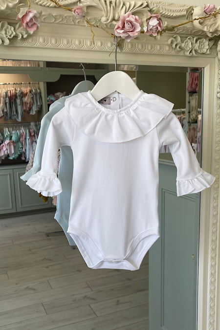Phi white long sleeve frill collar top