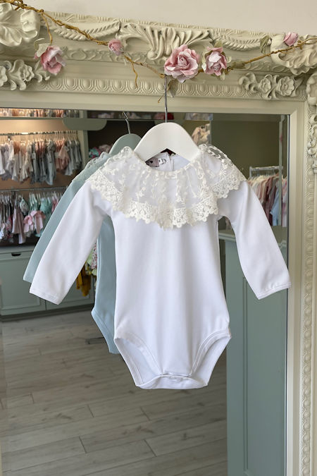 Phi white long sleeve lace trim top