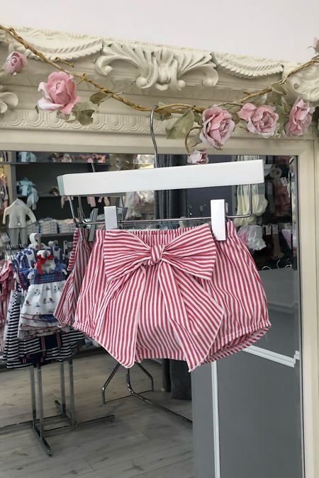 Red striped bow jam pants