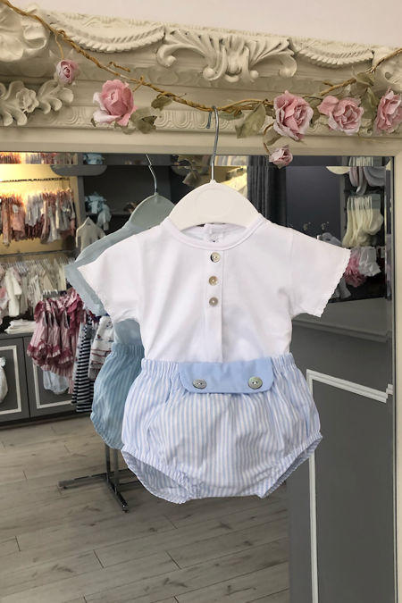 Arlo blue and white striped short set