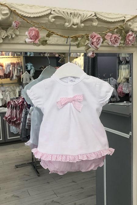 Maldives pink and white jam pants set