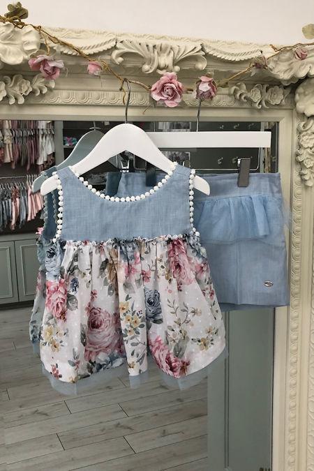 Marta Y Paula Raya floral tulle trim short set