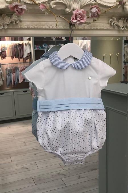 Piccola Speranza blue and white collared romper