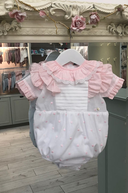 Piccola Speranza Dottie white and pink romper