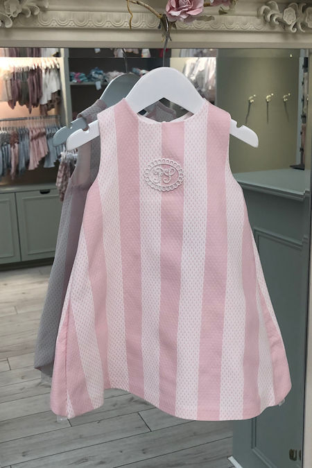 Piccola Speranza pink striped bow back dress