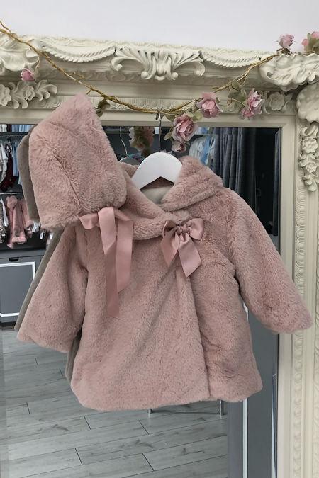 Valentina dusky pink faux fur coat and bonnet set