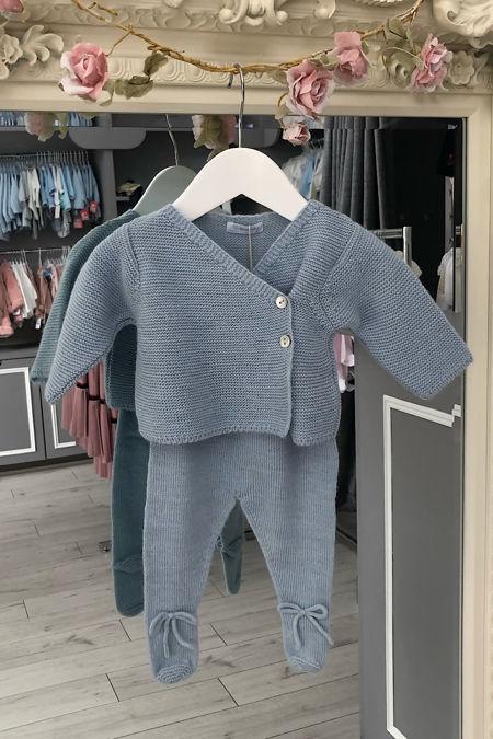 Laranjinha blue knitted two piece set