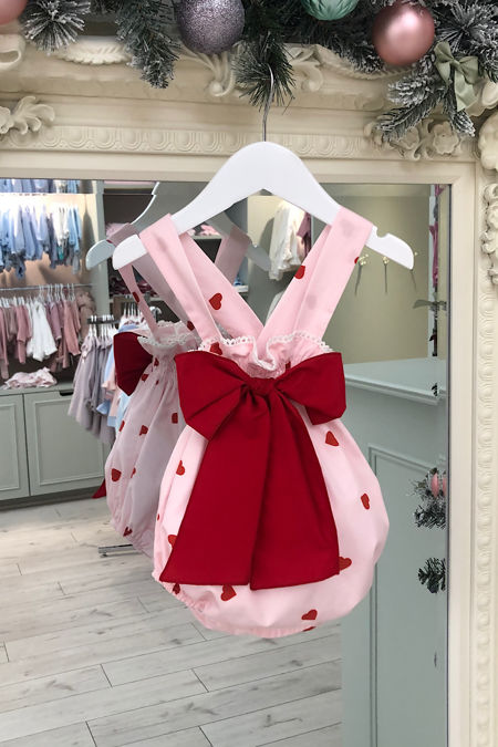 Phi pink heart romper with red bow