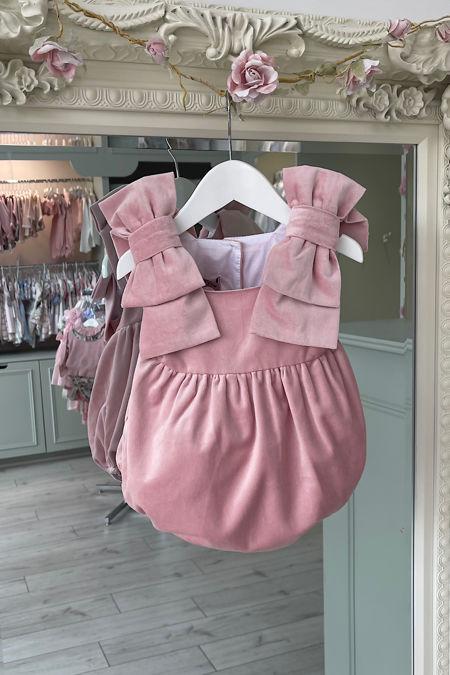 Phi pink velvet bows romper