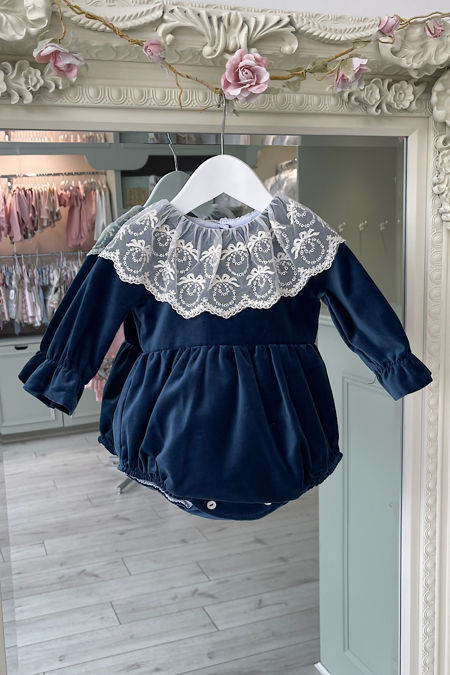 Phi lace collar navy blue romper