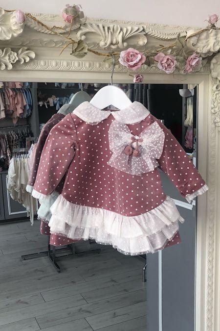 Marta y Paula baby girls dusky pink star pint tulle dress