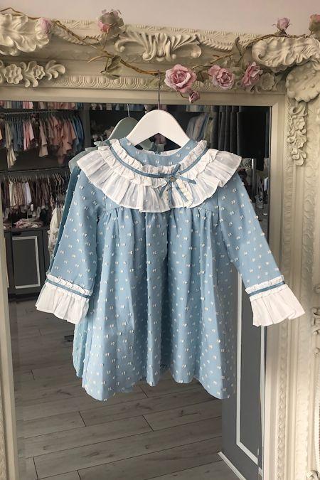 Marta Y Paula blue swiss dot dress