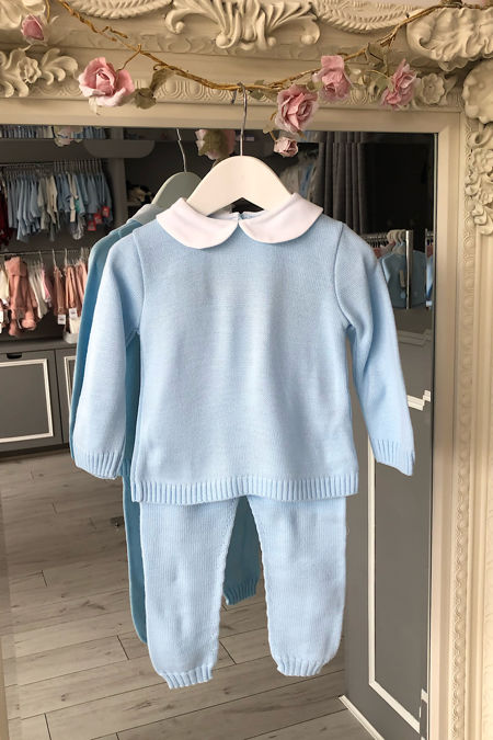 Blue peter pan collar knitted tracksuit