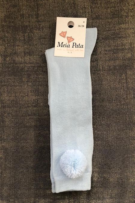 Meia pata blue pom pom knee high sock